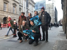 David King (left), former chief scientific adviser to the British government outside City of London Magistrates Court with members of Extinction Rebellion