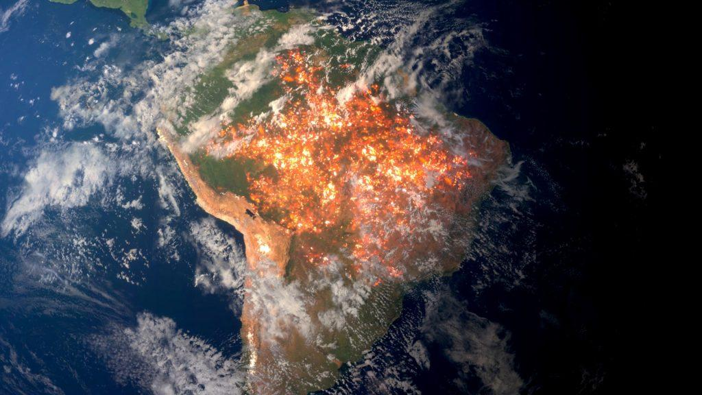 """An aerial fictitious photo animation of South America is seen for the climate emergency short film """"Guardians of Life"""", Los Angeles, California, U.S., in this handout obtained by Reuters on February 5, 2020. Nation Earth/Handout via REUTERS"""