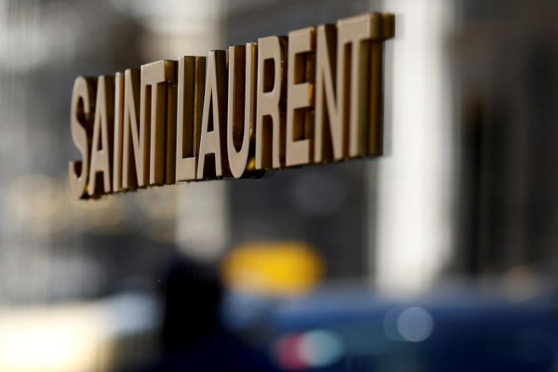 The logo of Saint Laurent, a brand of French luxury group Kering, is seen in Paris, France, July 5, 2019. REUTERS/Regis Duvignau
