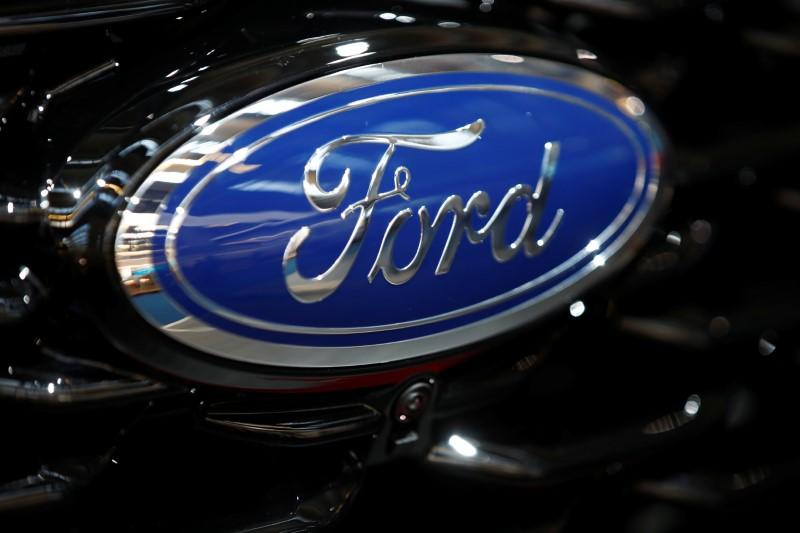 Ford logo is pictured at the 2019 Frankfurt Motor Show (IAA) in Frankfurt, Germany September 10, 2019. REUTERS/Wolfgang Rattay