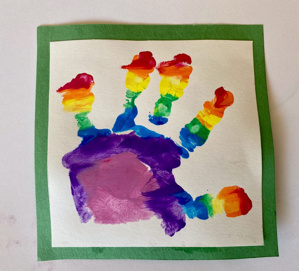 Undated handout photo released by Kensington Palace of Prince Louis' handprint, who celebrates his second birthday on Thursday, taken by his mother, the Duchess of Cambridge, in Britain. Duchess of Cambridge/Handout via REUTERS