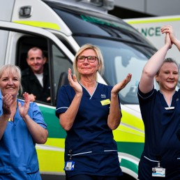 Staff at the Queen Elizabeth Hospital applaud to show their appreciation for National Health Service (NHS) workers amid the coronavirus disease (COVID-19) outbreak, during the weekly