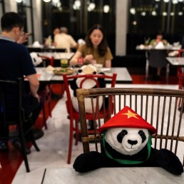 People have dinner as they sit next to stuffed panda dolls, used as part of social distancing measures to prevent the spread of the coronavirus disease (COVID-19), at the Maison Saigon restaurant that reopened after the easing of restrictions in Bangkok, Thailand, May 13, 2020. REUTERS/Athit Perawongmetha