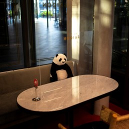 A stuffed panda doll and a plastic barrier are used as part of social distancing measures to prevent the spread of the coronavirus disease (COVID-19), at the Maison Saigon restaurant that reopened after the easing of restrictions in Bangkok, Thailand, May 13, 2020. REUTERS/Athit Perawongmetha