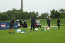 May 24, 2020; Hobe Sound, FL, USA; Tiger Woods, former NFL player Peyton Manning, NFL player Tom Brady of the Tampa Bay Buccaneers and Phil Mickelson warm up on the range prior prior to The Match: Champions for Charity golf round at the Medalist Golf Club. Mandatory Credit: Handout Photo by Getty Images for The Match via USA TODAY Sports