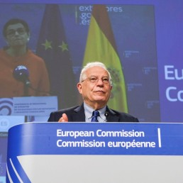 European High Representative of the Union for Foreign Affairs, Josep Borrell, and Spanish Minister of Foreign Affairs, European Union and Cooperation, Arancha Gonzalez Laya are seen during a video press conference at the end of International Donors' Conference in solidarity with Venezuelan refugees and migrants in the countries of the region, in the context of the coronavirus pandemic in Brussels, Belgium May 26, 2020. Olivier Hoslet/Pool via REUTERS