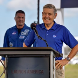 Astronaut Kjell Lindgren listens as KSC director Bob Cabana talks during prelaunch briefing before the launch of the SpaceX Crew Dragon spacecraft on a Falcon 9 booster rocket from Pad39A at the Kennedy Space Center in Cape Canaveral, Florida, U.S., May 29, 2020. REUTERS/Steve Nesius
